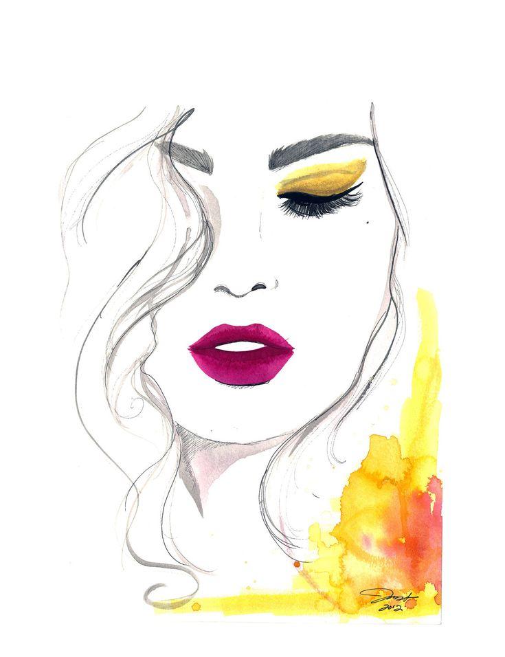 Watercolor and Pen Fashion Illustration, Jessica Durrant - The Fuchsia Lip print version. $25.00, via Etsy.