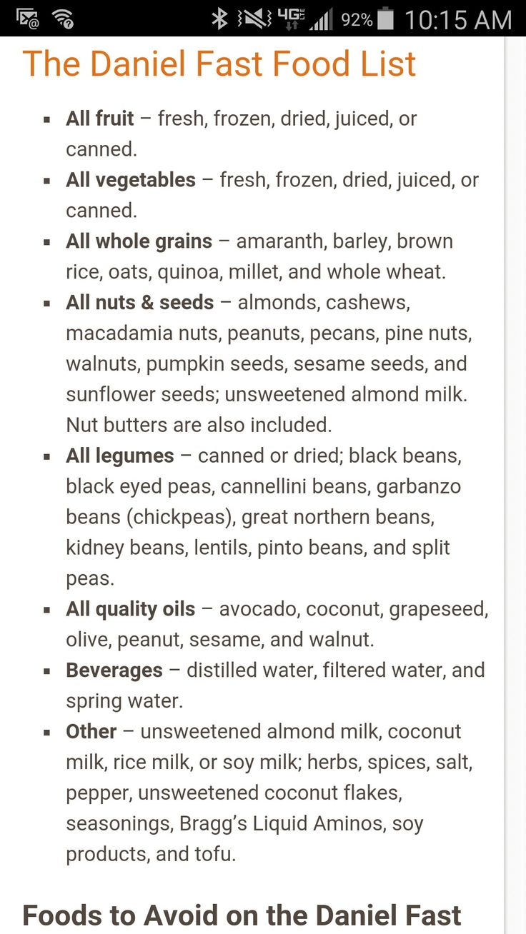 Daniel Fast Food List For Breakfast