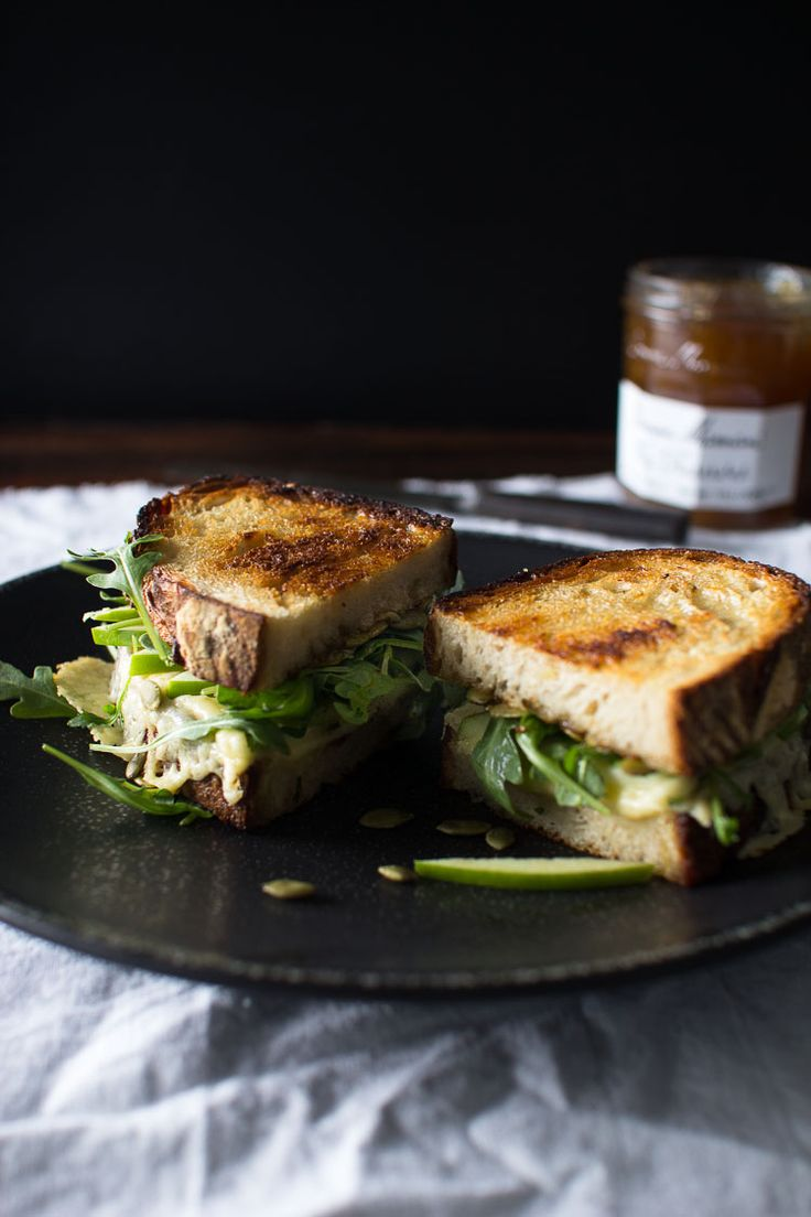 Grilled Cheese with Fig Preserve, Apple, and Pumpkin Seeds