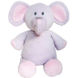 """Purple Elephant measures 16"""" from head to toe and has a removable stuffing pouch allowing embroidery directly on the animal. The Cubby has two removable pods -from the head and body.  The ears can also be embroidered on the Elephant.  $12.95"""