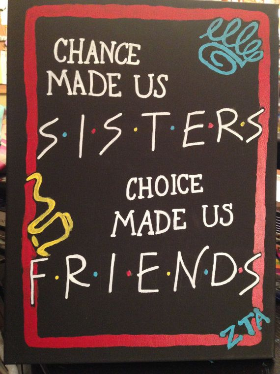 Friends Sorority stretch canvas 11X14 by DawnsBigLilGifts on Etsy, $30.00