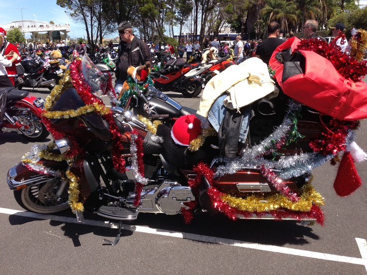 One of the better-decorated bikes at today's Salvos charity ride at Burswood. Thousands of bikes about to head up the freeway.
