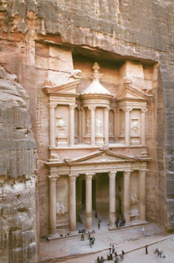 """The city of Petra, Jordan. Also known as the Canyon of the Crescent Moon in """"Indiana Jones and the Last Crusade""""."""