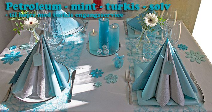 turkis og petroleumsfarvet borddækning
