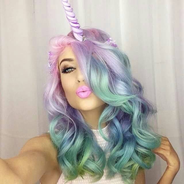Rave unicorn Beauty: Fantasy Unicorn Purple Violet Red Cherry Pink Bright Hair Colour Color Coloured Colored Fire Style curls haircut lilac lavender short long mermaid blue green teal orange hippy boho ombré woman lady pretty selfie style fade makeup grey white silver Pulp Riot