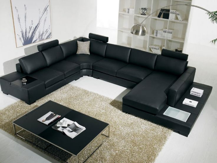 Ordinary Living Room Ideas With Black Leather Sectional Part - 8: T35 Black Leather Sectional Sofa