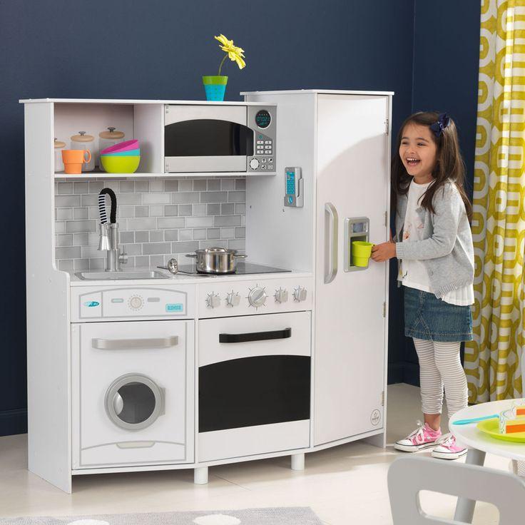KidKraft Große Spielküche mit Lichtern und Geräuschen Die Küche beinhaltet einen Eiswürfelzubereiter, der realistische Geräusche mit Blinklichtern macht, Kochfelder aus Acryl und eine Mikrowelle, einen ausziehbaren Wasserhahn und viele andere Funktionen, die die Spannung zusätzlich steigern.     • Drehknöpfe, die sich drehen lassen und Klickgeräusche machen • Kühlschrank-, Eiskühlfach-, Mikrowellen-, Ofen- und Spülmaschinentüren lassen sich öffnen und schließen