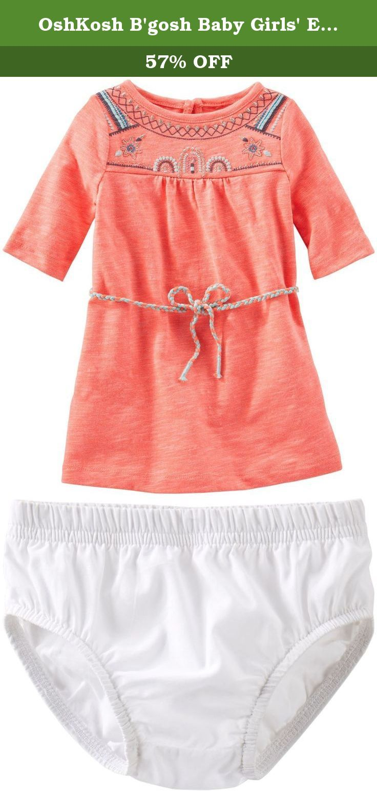 OshKosh B'gosh Baby Girls' Embroidered Knit Dress (Baby) - Orange - 3 Months. OshKosh B'gosh Embroidered Knit Dress (Baby) Orange OshKosh offers style conscious kids everything from casual playwear to special occasion dresses, staying true to its roots in quality, durability and craftsmanship.