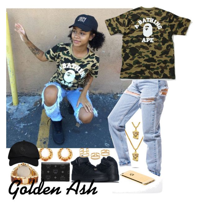 """""""Bape x MCM"""" by fashionsetstyler ❤ liked on Polyvore featuring NIKE, A BATHING APE, October's Very Own, Forever 21, MCM and Jeweliq"""
