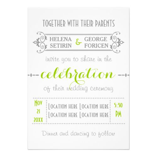 Modern typography green, grey wedding personalized invitations