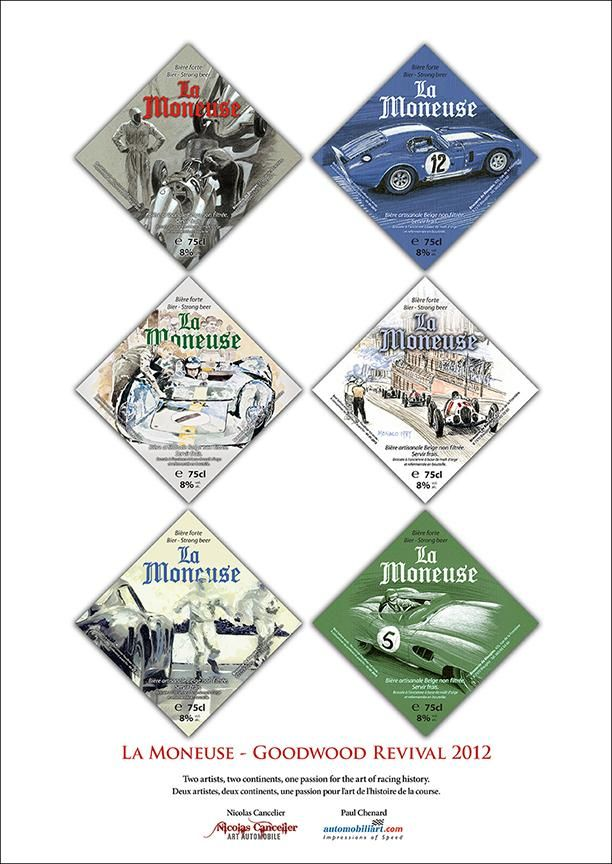 "Goodwood Revival 2012 ""La Moneuse"" beer labels poster 11.75""x 16.5"" $15 CDN each plus shipping/fees"