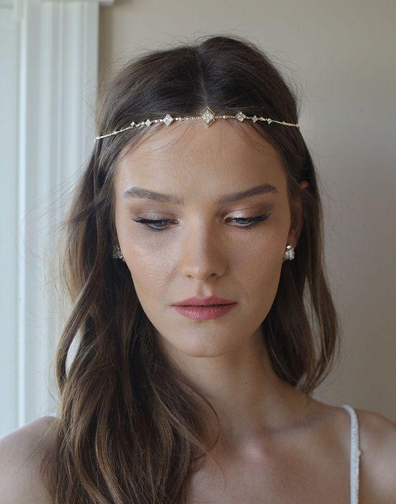 Chain Jewelry Hair Accessories Fashion Women Headband Flower Rhinestone Hairband High Elastic Hair Bands For Women Lady Girls Apparel Accessories