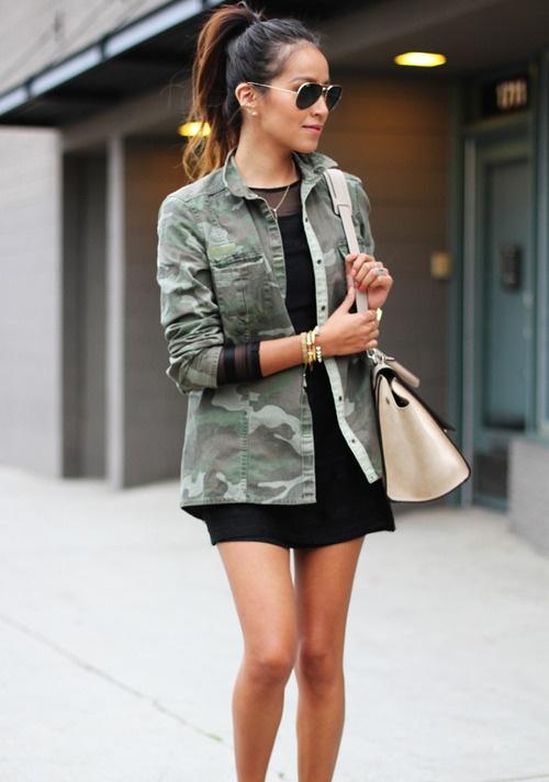 how to wear a camo jacket women