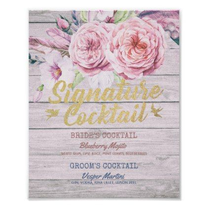 Wedding Signature Cocktail Drink Menu Wood Floral Poster - wood wedding style nature diy customize personalize marriage