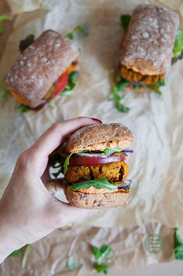 Vegan spicy hokkaido pumpkin burger: