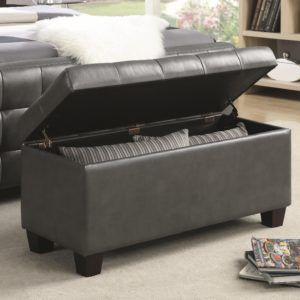 Grey Faux Leather Storage Bench