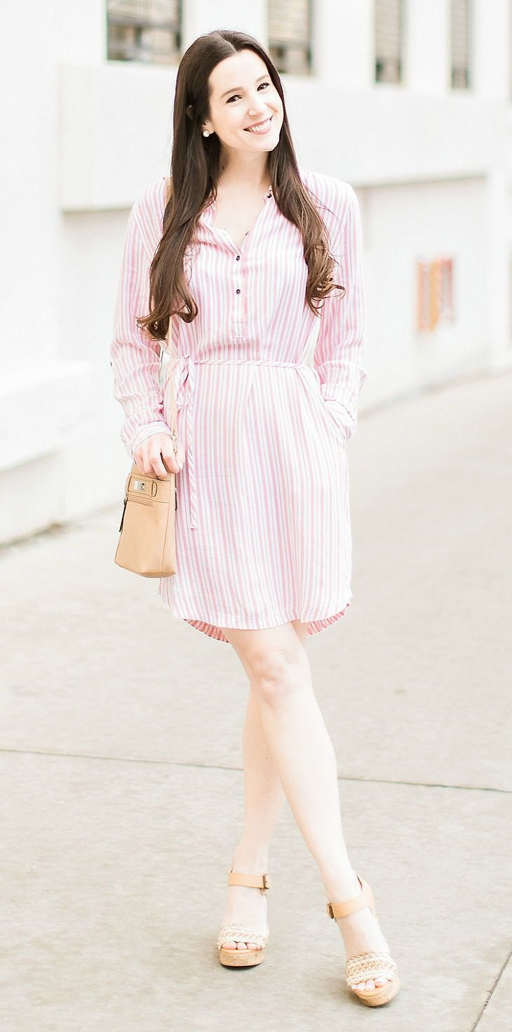 a11b232c5409b5 Pink striped Time and Tru Lyocell belted shirtdress styled with a tan Time  and Tru crossbody bag and Momo tan wedges