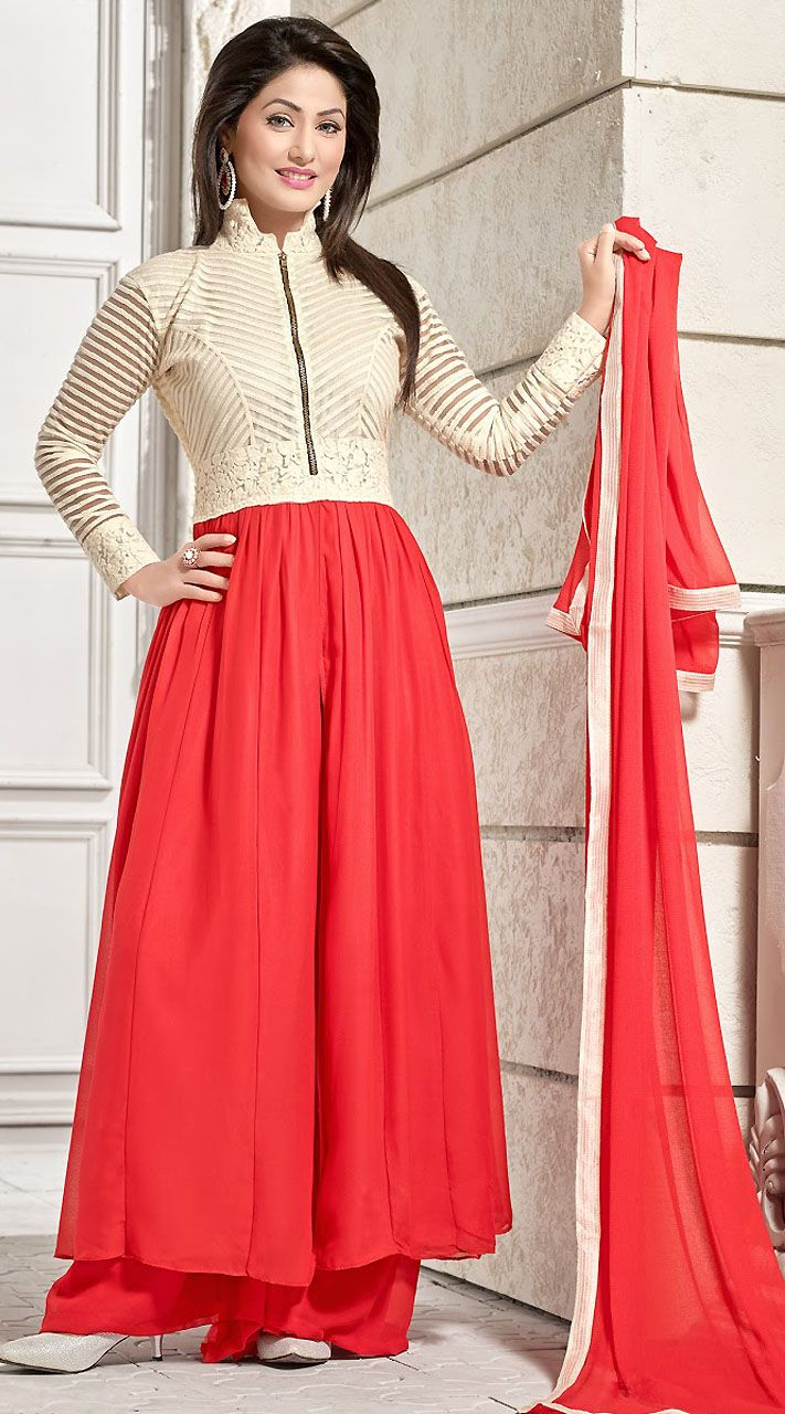 Beautiful Red Georgette T.V Actress Akshara Gown Style Kameez