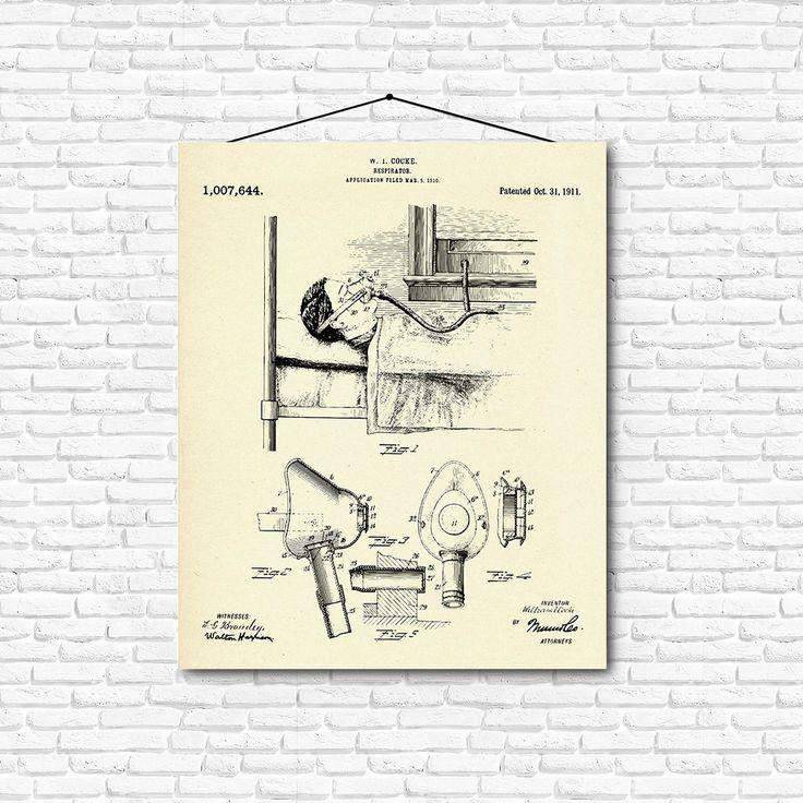 Respirator Patent Print- 1911 - Poster Wall art Illustration Print Art Home…