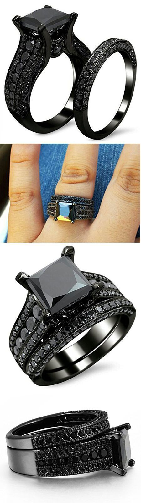 Awesome & Unique Goth / Gothic / steam punk Wedding / Anniversaries & Engagement Rings Set Ideas / Inspiration for Men / Her made in Black Gold, Sterling Silver & Princess Cut, Oval, Round, Pear, Skull Shaped with stones like Emeralds, Gems, Blue Sapphire, White Diamonds, Swarovski, Purple, Red, Yellow Crystals. These Brides, Bridal ring, Band sets are Vintage, Simple & Beautiful Art Deco Jewelry Products which is cheap, inexpensive, affordable budget Non-Traditional Victorian Rings for Him…