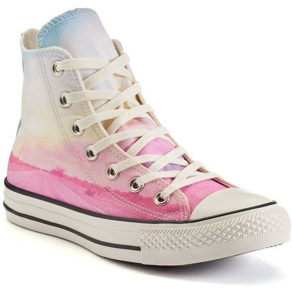 Women's Converse Chuck Taylor All-Star Photo Real High-Top Sneakers ($60) ❤ liked on Polyvore featuring shoes, sneakers, converse, pink white, pink shoes, white sneakers, white lace sneakers, white lace shoes and white shoes