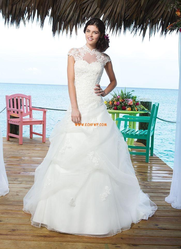 Spiaggia / Destinazione Coda a Strascico Corto Abiti da Sposa con mantellina Abiti Da Sposa 2014