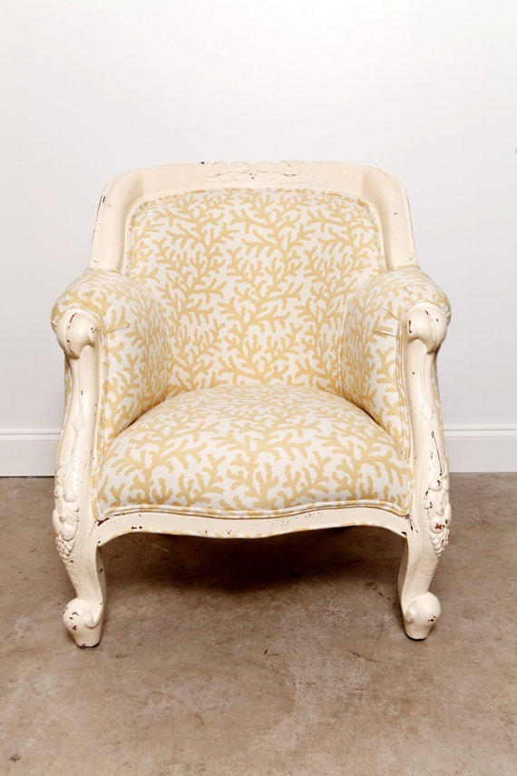 Pale Yellow Coral Print Chair rescued from a thrift store and reupholstered...so charming! Found Design Miami on Etsy