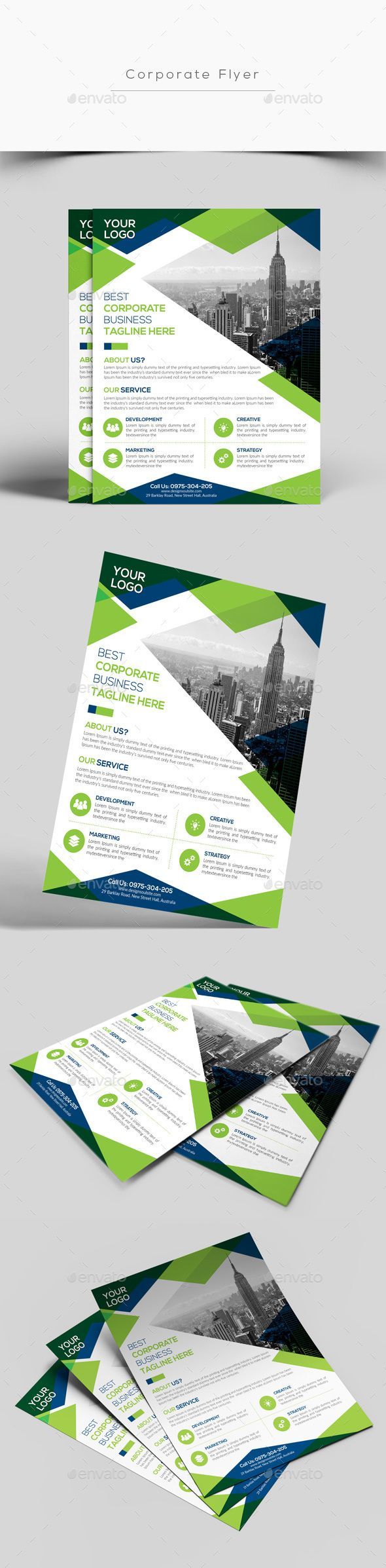 Corporate Flyer Template PSD #design Download: http://graphicriver.net/item/corporate-flyer/13843752?ref=ksioks