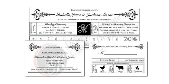 COUNTRY CHIC WEDDING SET (DIGITAL FILE) Includes: 1-5x7 CUSTOM WEDDING INVITATION 1-RESPONSE CARD 1-ACCOMODATIONS CARD Vintage train ticket invitation. DIY by hole punching your wedding date. Circling your wedding date is also available, however you must state it in the notes