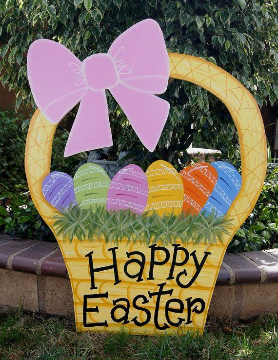 Easter Basket Yard Art - Easter Outdoor Wood Decoration - Easter Lawn Sign on Etsy, $75.00