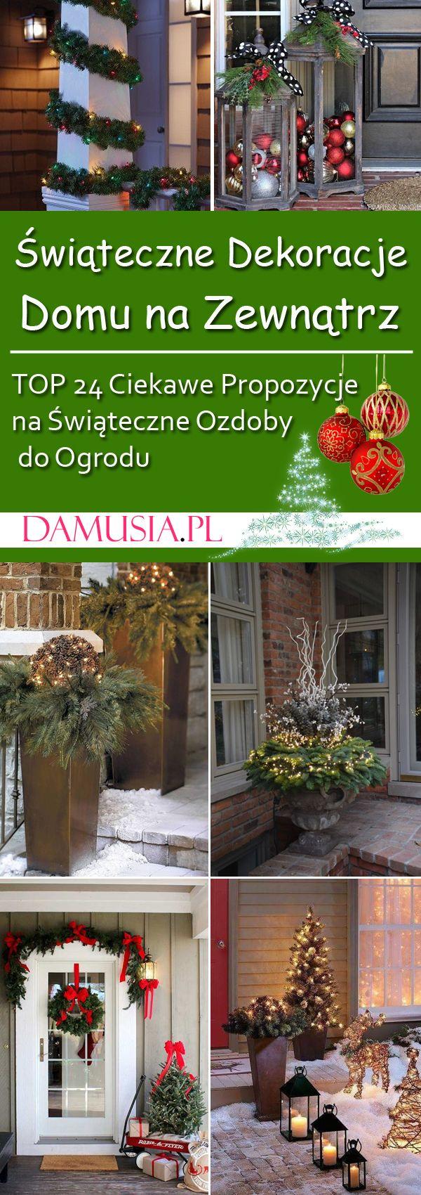 Swiateczne Dekoracje Domu Na Zewnatrz Top 24 Ciekawe Propozycje Na Swiateczne Ozdoby Do Ogrodu Christmas Front Porch Christmas Porch Decor Christmas Porch