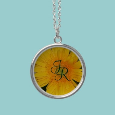 Yellow Daisy Monogram Necklace  A beautiful yellow daisy makes the background for your monogram. Customizable with your own monogram.
