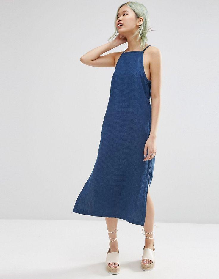 ASOS Premium - Pinafore - Robe mi-longue minimaliste en jean texturé