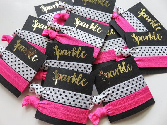 Kate Spade party - theme - Hair Tie favors, gift bag , elastic hair ties, birthday , bachelorette party , bridal shower, swag bag