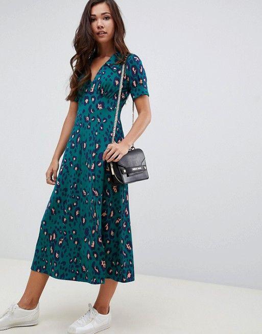 74c788cbfa1 ASOS DESIGN forest green animal print midi tea dress