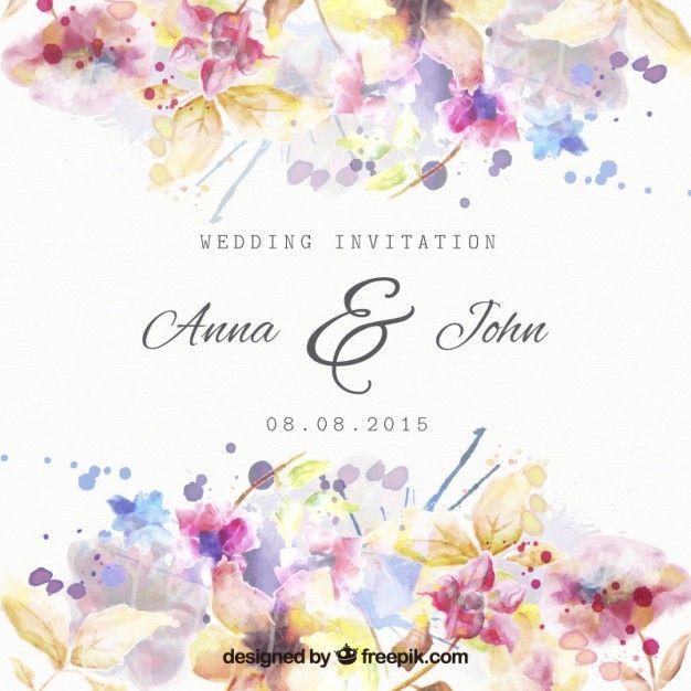 水彩画のスタイルで花の結婚式の招待状 無料ベクター