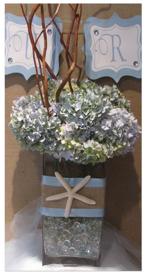 beach themed bridal shower centerpiece idea is SO cute!