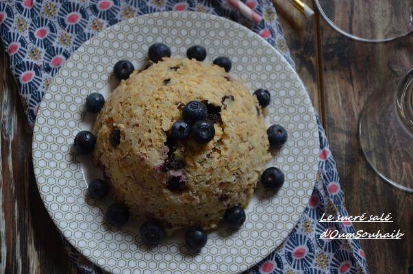 bowl cake lait d'amande et myrtille (sans lait)