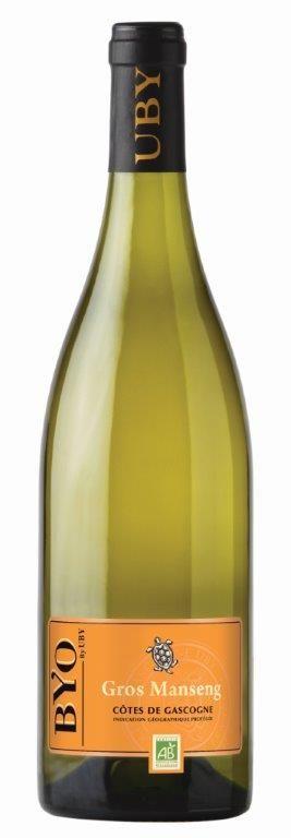 vin Byo / domaine d'uby   GROS MANSENG DOUX  100% GROS MANSENG  IGP CÔTES DE GASCOGNE   véritable concentré de fruits exotiques : fruit de la passion et mangue. La bouche, onctueuse, révèle des arômes de citron confit et de coing.  Délicatement boisé, ce vin vous étonnera par son gras et son incroyable fraîcheur.  Nous vous conseillons ce vin en apéritif, avec un foie gras, remarquable avec une volaille, une viande blanche ou un fromage à pâte persillée (ex : le Roquefort).