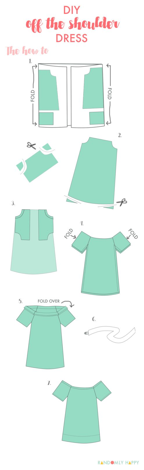Super easy DIY off the shoulder dress pattern and tutorial. Possibly the most perfect summer dress ever   Randomly Happy