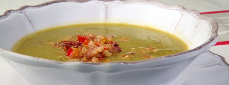 Nick Stellino's Pea Soup with Confit of Peppers and Shrimp