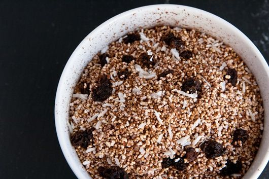 """Cocoa """"puffmaranth"""" cereal -- super high in iron"""