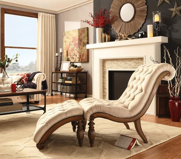 Tribecca Home Bellagio Classic Tufted Chaise Lounge With Ottoman Furnishings Pinterest