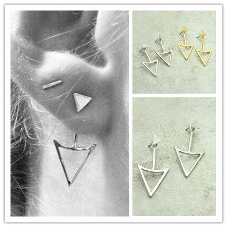 Nueva joyería de la manera punky fresco Triángulo doble cara regalo color de la mezcla del perno prisionero para las mujeres chica E2831