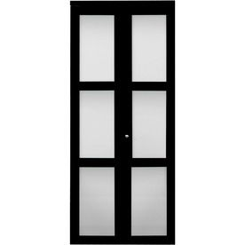 ReliaBilt Espresso 3 Panel Square Solid Core Smooth Tempered Frosted Glass Bifold  Closet Door