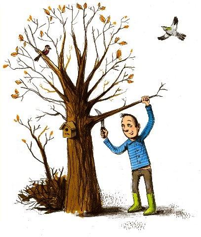 Snoeien moet ook gebeuren #ECOstyle #illustratie #tekening #tuinonderhoud #snoeien #boom