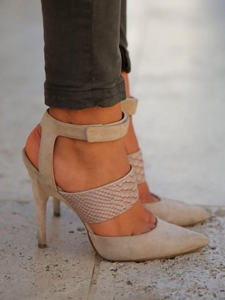 Khaki Suede Bandage High Heels