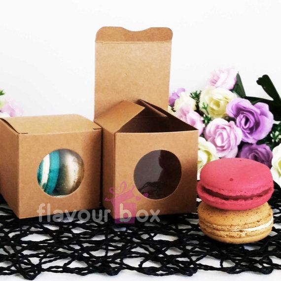 10x Kraft Boxes 6 cm  perfect for sweets macarons or by flavourbox
