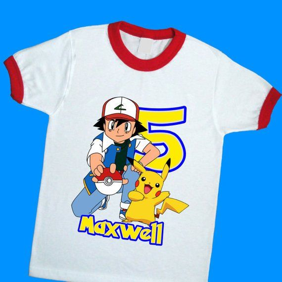 ASH /& PICKACHU PERSONALISED CHILDS T-SHIRT