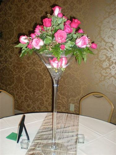 Martini Glass Centerpiece I Love This Idea The Only Thing Would Add Be A